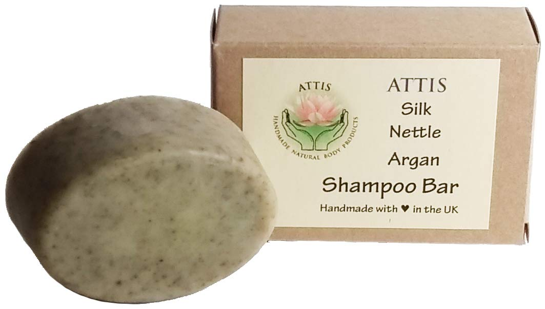 ATTIS Handmade Silk Nettle Argan Shampoo Bar | with Calcium Bentonite Clay | Tea Tree & Carrot Seed Essential Oils | Aloe Vera gel | Sulfate Free | For Men & Women