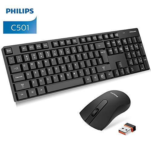 (Philips Wireless Keyboard and Mouse Combo, Ultra-Thin Ergonomic Keyboard and Mute Mouse, 2.4GHz 32ft Wireless Connection with USB Receiver for PC Desktop Computer Laptop Mac Tablet (6501B))