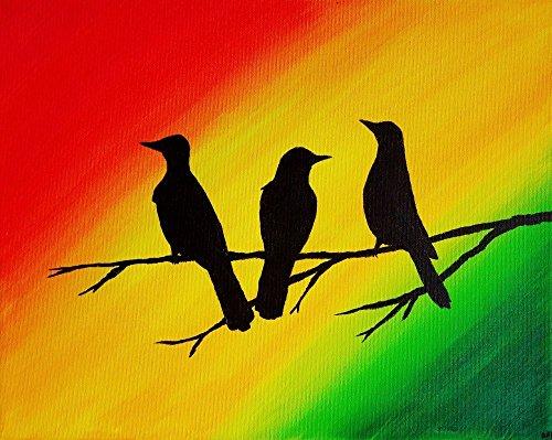 3 Little Birds Wall Art 9x12 Print Art Rasta Colors Decor