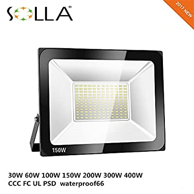 Warm White, 60W 220V, China : SOLLA Waterproof LED Flood Light 60W 400W 300W 200W 150W 100W 30W Reflector Searching Light Garden Spotlight Outdoor Wall Lamp