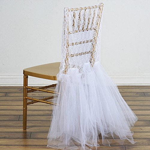 Efavormart White Bridal Wedding Party Lace And Tulle Tutu Chair (Wedding Chair Cover)