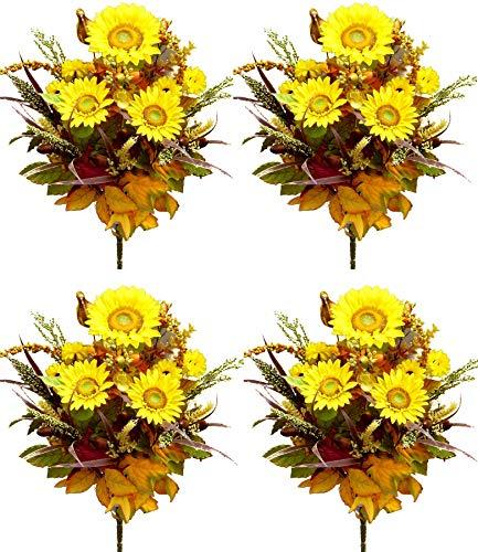 Arrangement Flowers Fall - Admired By Nature GPB142-MIXED 4 Piece Halloween/Thanksgiving Decoration Arrangement Artificial Pumpkins/Sunflowers/Berries/Leaves/Filler Mixed Flower Fall Harvest Bush, 21