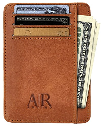 RFID Front Pocket Wallets for Men - Minimalist Genuine Leather RFID Blocking (Light Brown) -
