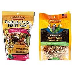 Sunseed Parrots & Conures Treat 2 Flavor Variety Bundle, 1 Each: Fabulous Fruit Mix (12 Ounces) and Pine Cone (5 Ounces)