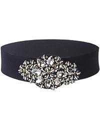 91cd37352 Women Crystal Elastic Waist Belts - Rhinestone Wide Cinch Belt for Dress