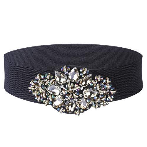Women Crystal Elastic Waist Belts - Rhinestone Wide Cinch Belt for Dress (Gold-Color beads)