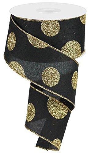 EXPRESSIONS Polka Dot Christmas Ribbon: Black and Gold 2.5