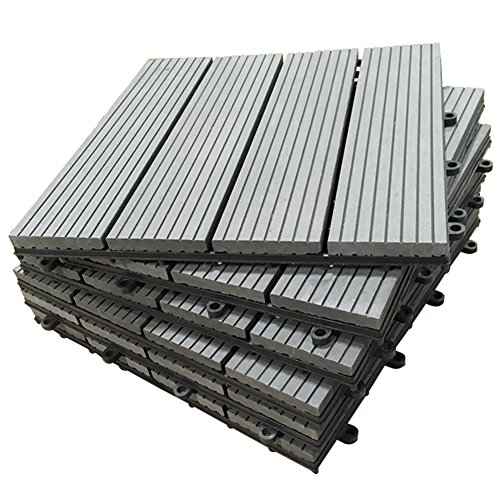 SORARA Interlocking Flooring Decking Tiles Patio Outdoor Wood-Plastic Composite Tile, 12