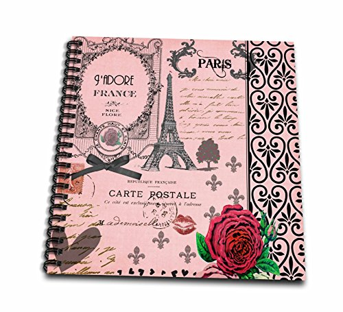 3dRose db_76593_2 Stylish Paris Collage Art Memory Book, 12 by 12-Inch, Vintage Pink