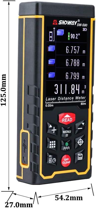 80 metros de telémetro de la batería externa de la banda W-telémetro láser color del área de láser LCD/v/ángulo de herramientas
