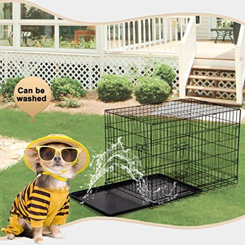 Dog Crate Dog Cage Pet Crate 48 Inch Folding Metal Pet Cage Double Door W/Divider Panel Dog Kennel Leak-Proof Plastic Tray Wire Animal Cage by BestPet (Image #5)