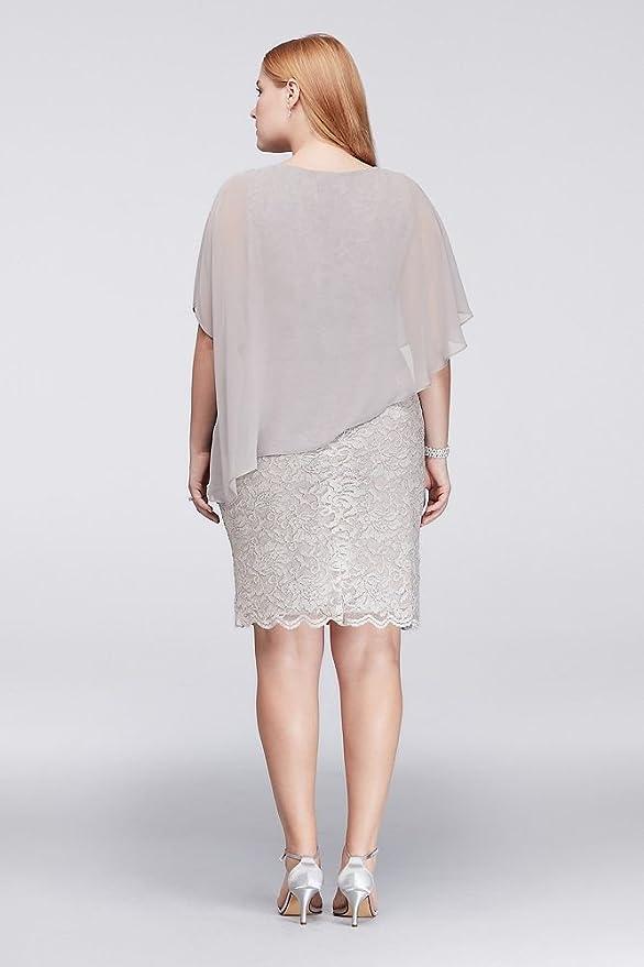 6f8372a5f52ab Glitter Lace Plus Size Sheath with Chiffon Capelet Style 141128 at Amazon  Women s Clothing store