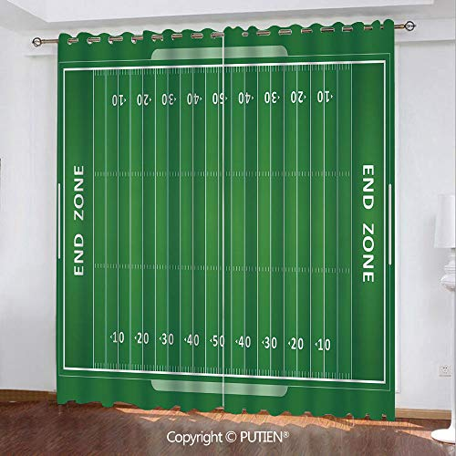 Satin Grommet Window Curtains Drapes [ Football,Field of the Game Strategy Tactics End Zone Touchdown Sports Competition Theme,Green White ] Window Curtain for Living Room Bedroom Dorm Room ()