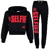 A2Z 4 Kids Girls Tracksuit Fleece Hooded Crop Top Bottom Jogging Suit - T.S Crop #Selfie Black & Neon Pink 9-10