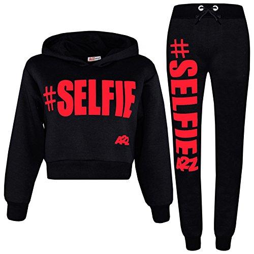 (A2Z 4 Kids Kids Girls Tracksuit Designer #Selfie Hooded Crop Top & Bottom Jog Suit 5-13 Yr)