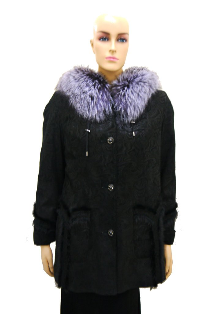 Women's Genuine Leather Coat with Silver Fox Fur Hood by Hima