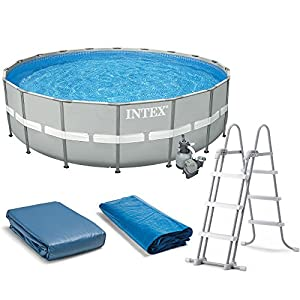 intex 20 x 52 ultra frame above ground swimming pool set with sand filter pump