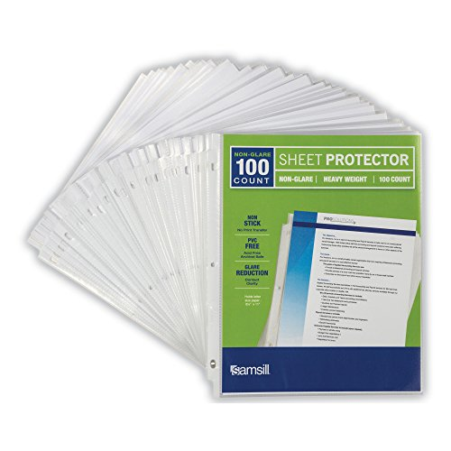 Samsill Heavyweight Non-Glare Poly Sheet Protectors, Box of 100, Acid Free & Archival Safe, Top Loading, Letter Size - 8.5 x 11 Photo #5