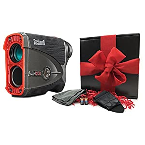 Bushnell Pro X2 Golf Rangefinder Gift Box | Includes Laser Rangefinder (Slope/Non Slope), Carrying Case, Magnetic Cart Mount, PlayBetter Microfiber Towel, Two (2) CR2 Batteries | Gift Box, Red Bow