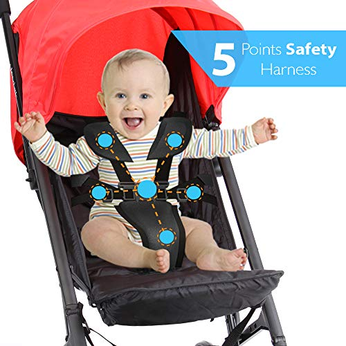 Portable Folding Baby Travel Stroller - Upgraded Lightweight Foldable Compact Stroller w/Adjustable Reclining Seat, Foot-Activated Brake, Locking Front Wheels, Retractable Canopy - Jovial by Jovial (Image #2)
