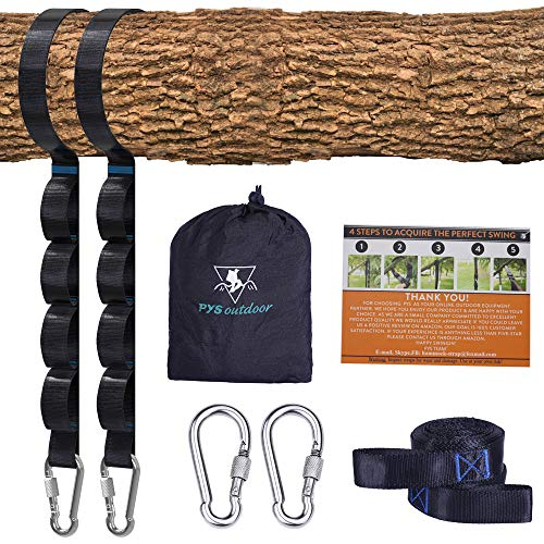 pys Tree Swing Straps Kit-Two Adjustable (20loops Total ) Straps Hold 2000lbs Two Heavy Duty Carabiners (Stainless Stell),Easy & Fast Swing Hanger Installation to Tree , 100% Non-Stretch (10ft)