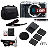 Canon EOS M6 Mirrorless Digital Camera (Body Only, Silver) 1725C001 Professional Bundle- International Version (No Warranty)