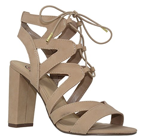 MVE Shoes Women's Lace Up Cage Gladiator Block Heel Dress Sandal, Natural 9 - Heel Lace Up Shoes