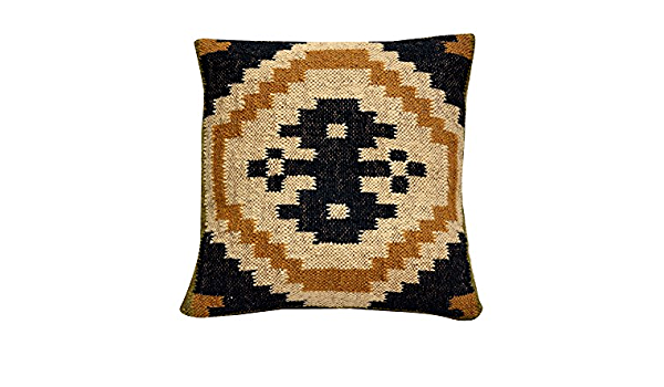Kilim Cushion Cover Jute Ethnic Pillow Boho Hand Woven Shams Hippie Indian 1069