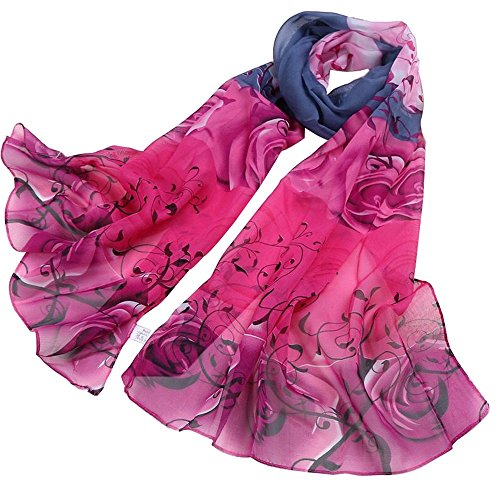 Women's Polyester Chiffon Scarf Neck Fashionable Printing Floral Country Style Lightweight scarves for Ladies and Girls