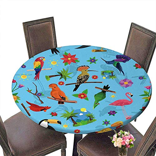 Bird Care Exotic (PINAFORE Chateau Easy-Care Cloth Tablecloth Exotic Bird Colorful Seamless with Toucan Flamingo and Arara for Home, Party, Wedding 43.5
