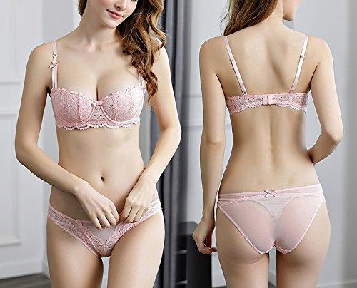 Oudan Conjunto de lencería de Mujer sin Forro Bralette Underwear Floral Lace Half Cups Bra: Amazon.es: Ropa y accesorios
