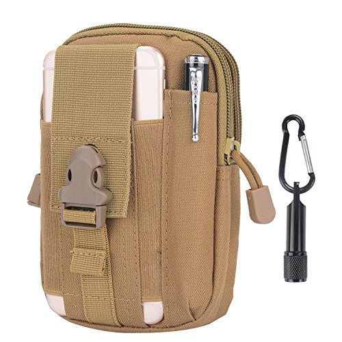 Tactical Pouch - Compact Water-resistant Molle EDC Utility Gadget Gear Tools Organizer - Bundled with Keychain Flashlight (TAN)