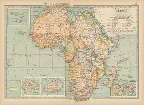 Historic Pictoric Map | Africa 1914 | Century Atlas World | Vintage Poster Art Reproduction | 24in x 18in