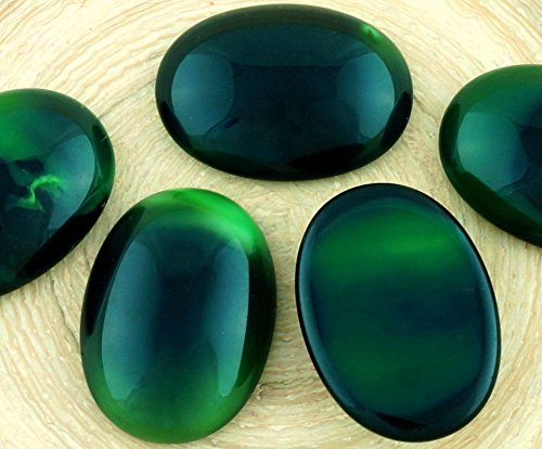 2pcs Malachite Dark Green Black Striped Opal Oval Domed Flatback Czech Glass Cabochons 25mm x 18mm ()
