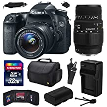Canon EOS 70D Digital SLR Camera with 18-55mm STM and Sigma 70-300mm f/4-5.6 DG Macro Lens includes 32GB Memory + Large Case + Extra Battery + Travel Charger + Memory Card Wallet + Cleaning Kit (32GB