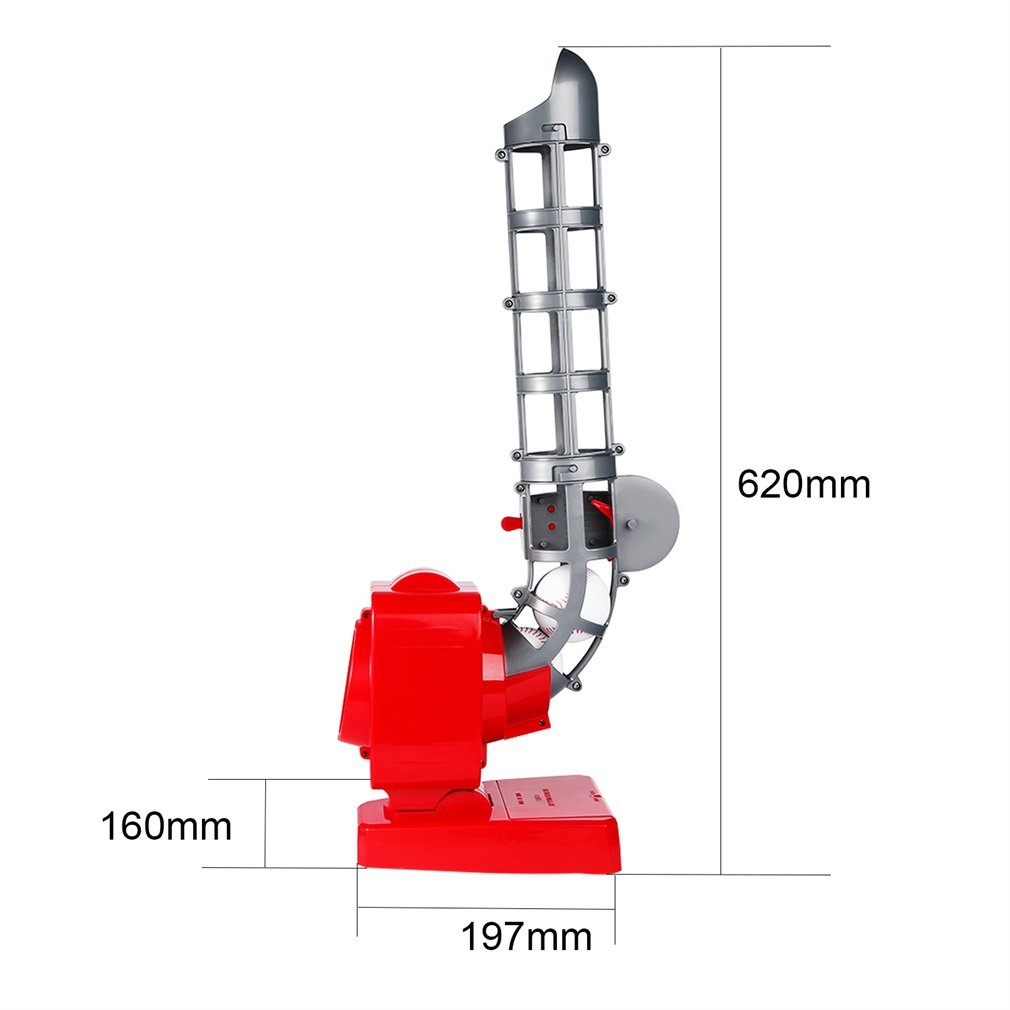 Baseball Automatic Pitching Machine Launching Serving Machine Battery Version Portable Feet Exercise for Kids Teens QCM033-1 Red & Gray