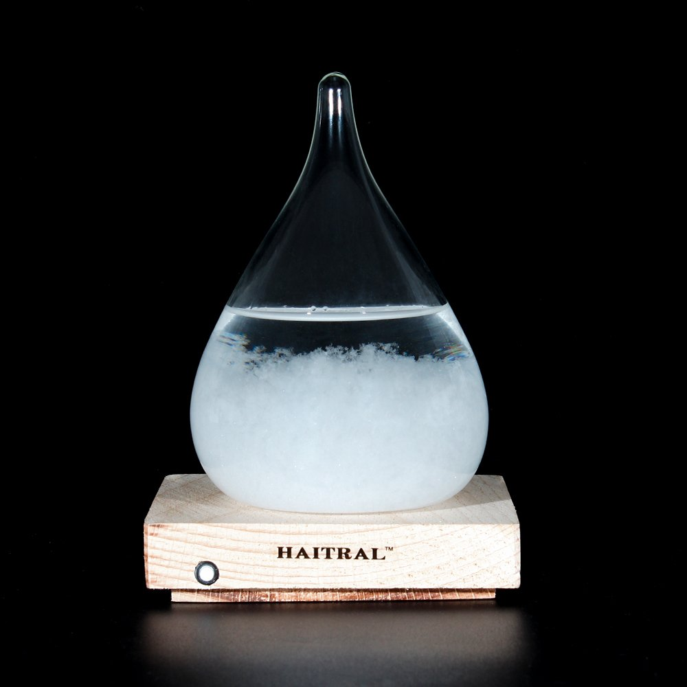 """HAITRAL Storm Glass Bottles - Creative Gifts Weather Predictor Wooden Base Crystal Desktop Drops Decorative Bottles for Living Room Bedroom Office or Hotel Room 4.3"""" x 3.7"""" (Small)"""