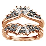 TwoBirch Chevron Fan Style Ring Guard with 0.75 carats of Black And White Cubic Zirconia in Rose Gold Plated Sterling Silver