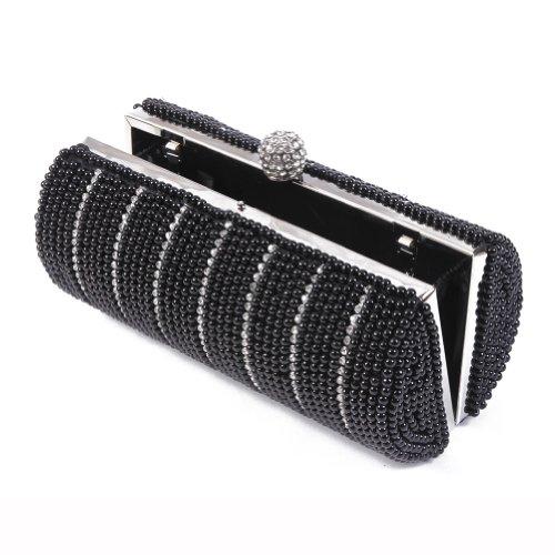 Evening Womens Beads Damara Chic Pearl Purse Clutch Columnar Black Bag Special d4dnTgqI1