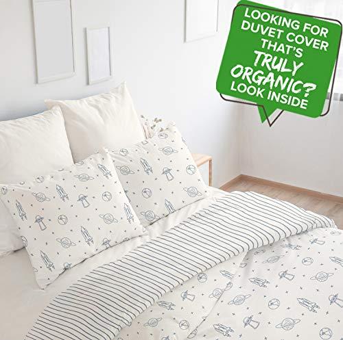 Organic Duvet Cover Full (Pack of 3) GOTS Certified Organic Cotton Duvet Cover Set Full wt Pillowcases Reversible Soft Breathable Hypoallergenic Boys Kids Room Navy (Full, Astronaut/Blue Stripes) (Covers Duvet Meaning)