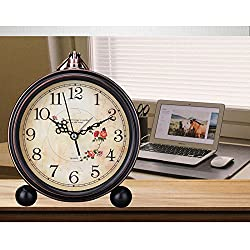 Zehui Retro Quartz European Simple Countryside Creative Student Bedside Non Ticking Silent Alarm Table Hanging Clock 8#