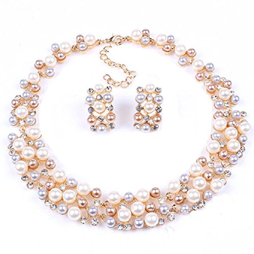 Sankuwen Plated Crystal Necklace Earrings