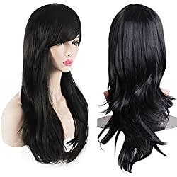 AKStore Women's Heat Resistant 28-Inch 70cm Long Curly Hair Wig with Wig Cap, Black