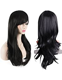 Women's Heat Resistant 28-Inch 70cm Long Curly Hair Wig with Wig Cap, Black
