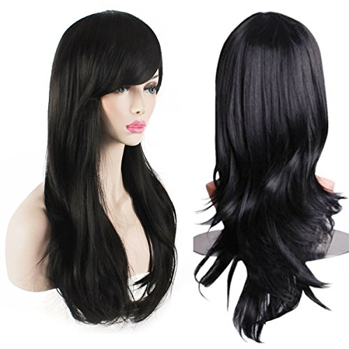 AKStore Women's Heat Resistant 28-Inch 70cm Long Curly Hair Wig with Wig Cap, Black -