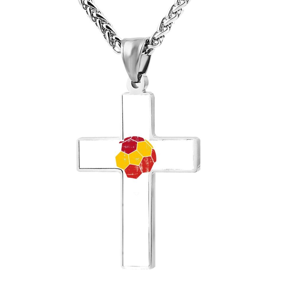 Jewelry Zinc Alloy Chain Necklace for Men Women spain Soccer Football Team Cross Pendant 24 Inches