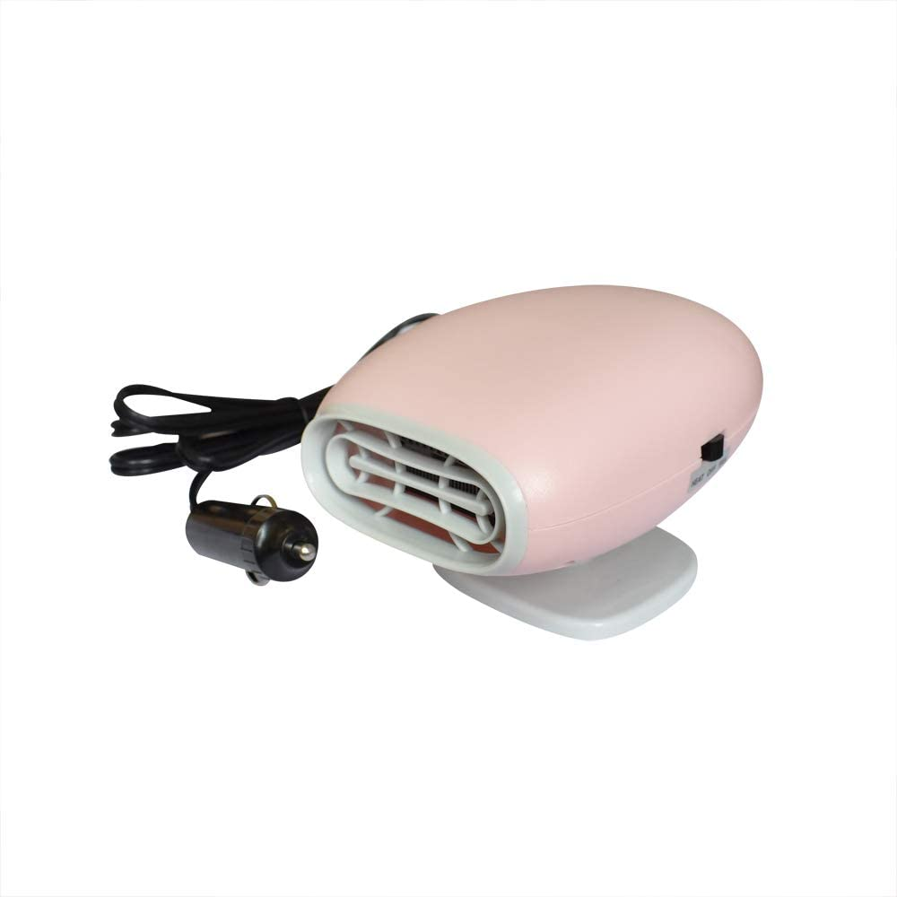 Xmomx Pink Vehicle Car Heater and Cooling 2 in1 Fast Heating Defrosts Defogger 12V 150W Auto Ceramic Heater Fan Plug in 360/° Rotary Holder Cig Lighter Demister Fashion