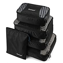 Gonex Packing Cubes Travel Luggage Packing Organizer,Laundry Bag included (Black)