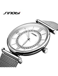 SINOBI Steel Mesh Women Watches, Crystal Bracelet RomanNumeral Watches for Women reloj de pulsera Silver