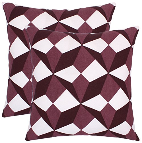 BBD Pack of 2 Accent Decorative Throw Pillow Covers Cushion Cases Cushion Covers Pillowcases in Cotton Canvas with Hidden Zipper Toss Pillow Slipcovers for Couch Sofa Bed (18 x 18 Inches;Wine ) ()